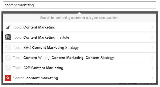 How to follow relevant topics and users, example for Content Marketing