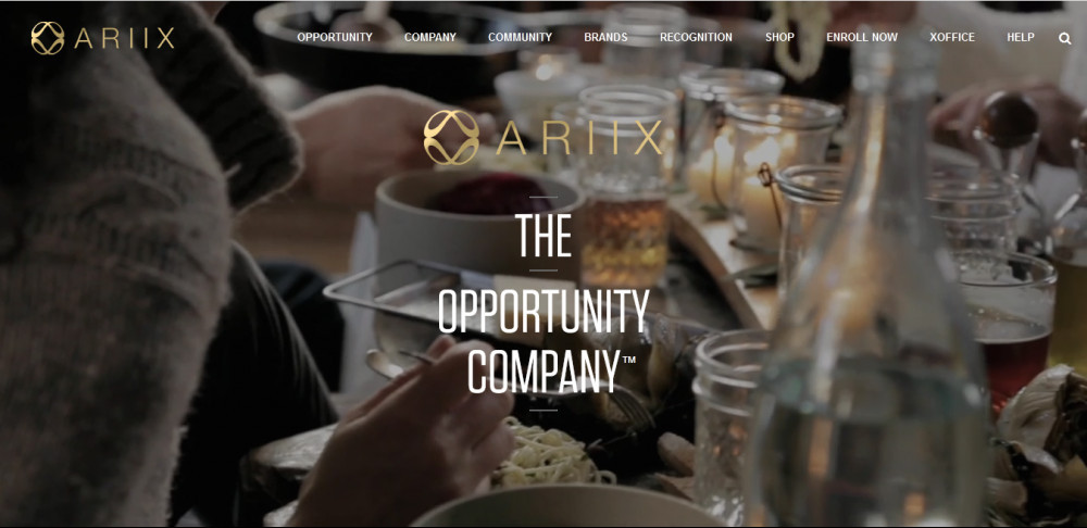 The Ariix company official website homepage with words 'Ariix The opportunity companyé showing some products
