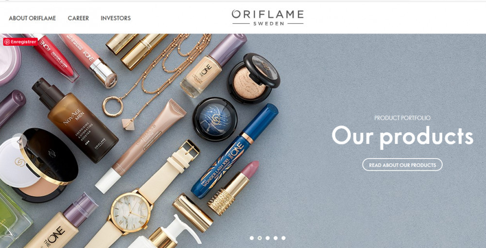 Oriflame cosmetics official website homepageshowing cosmetics and jewelry products