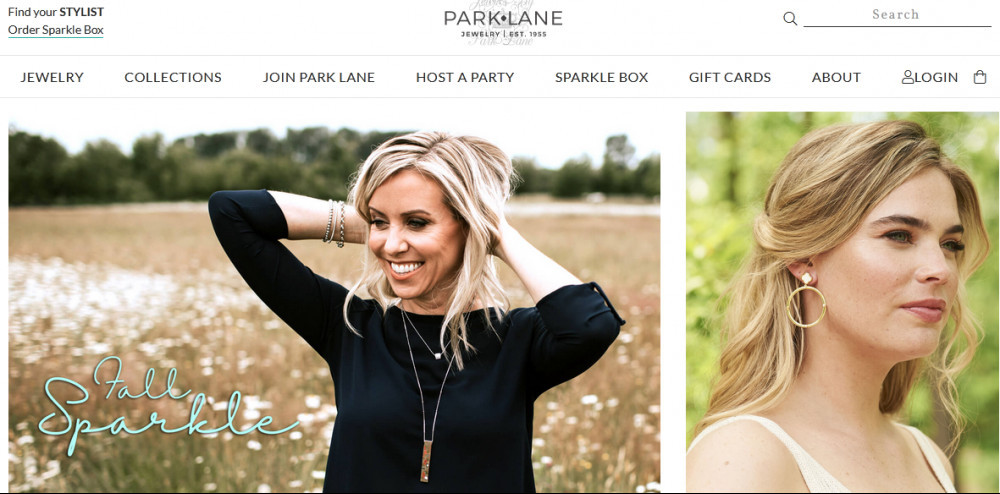 Jewels byPark Lane official website homepage image showing 2 women wearing a necklace and earrings