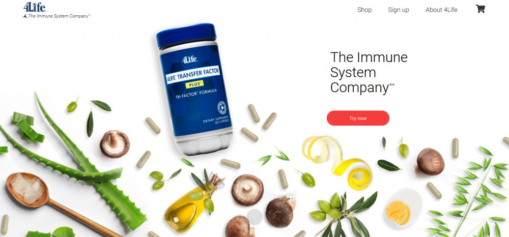 4Life's products displayed with words 'The ommine system company