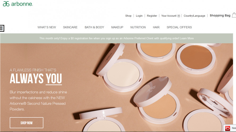 Arbonne official homepage showing cosmetics products and the words 'Alwaysyou'