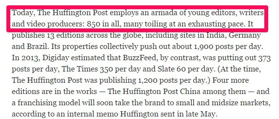Hufftington Posts' huge editorial and writing team