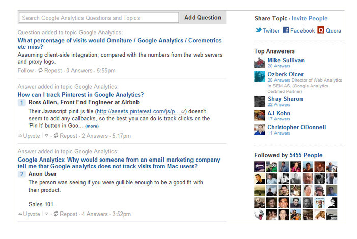 "Quora To find the latest activity on the topic, top ""answerers"", and the people following the topic"
