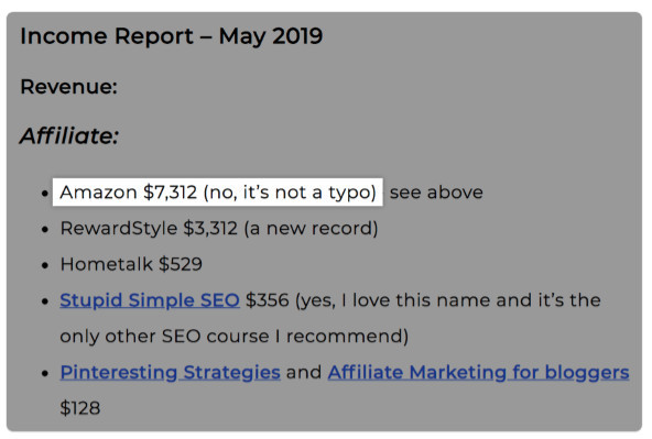 An affiliate's income report- May 2019