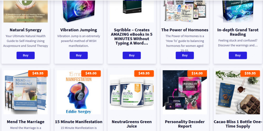 ClickBank featured products like Natural synergy, Mend the marriage, Personality decoder report, etc.