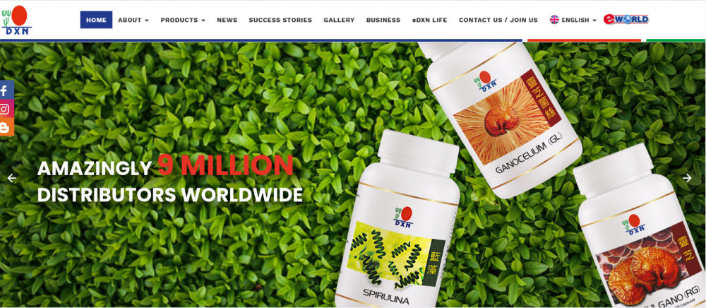 DXN official site homepage showing products bottles and worlds 'Amazingly 9 million distributors worldwide'