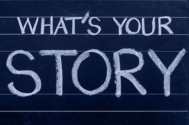 WHAT'S YOUR STORY written with white on blue background to show Sell Your Stories and Videos to Make Instant Extra Income