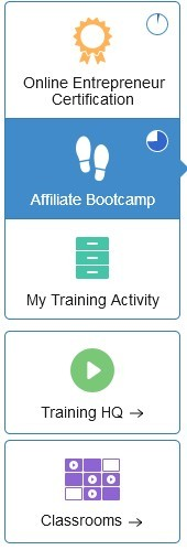 Training tab showing Online Entrepreneur Certification course, AffiliateBootcamp course, My Training Activity, Training HQ, Classroom  for Pictorial tour: Wealthy Affiliate training and tools