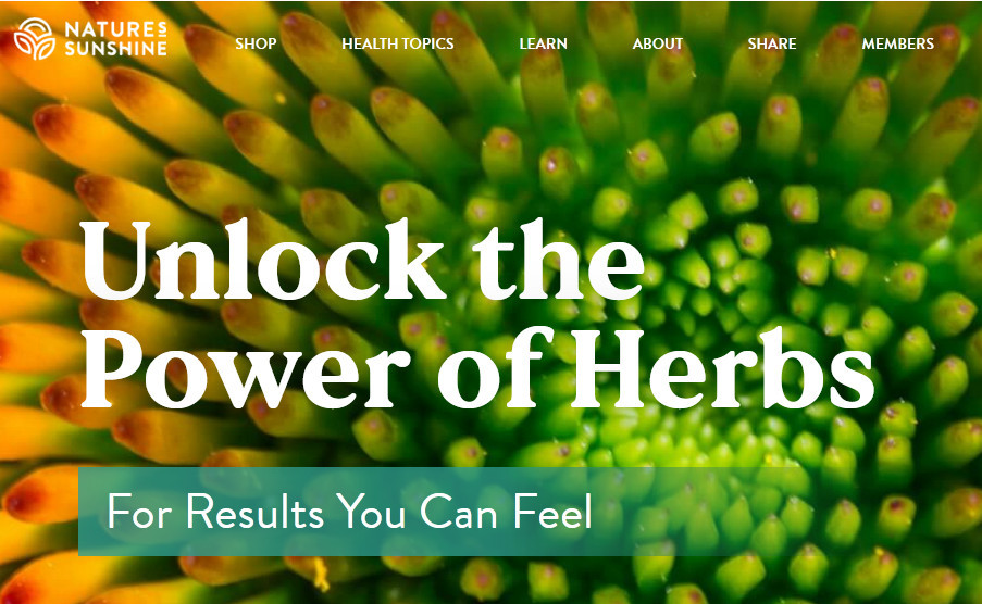 Nature's sunshine official website homepage showing a banana-like fruit with words 'Unlock the power of herbs - For results you can feel'