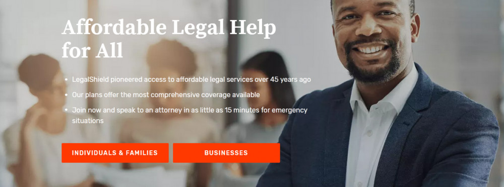 Legalshield showing a smiling man with hazy 3 women's image behind him with the words 'Affordable Legal Help for all' to signify Legalshield review