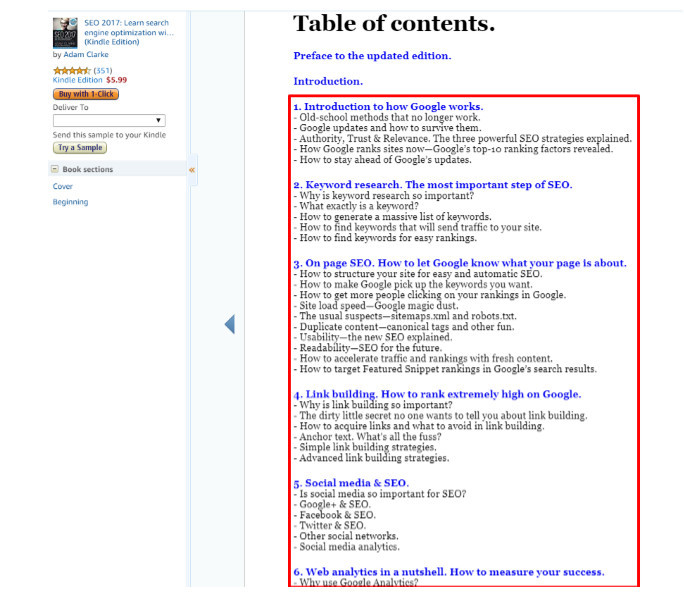 Amazon look inside book showing table of contents