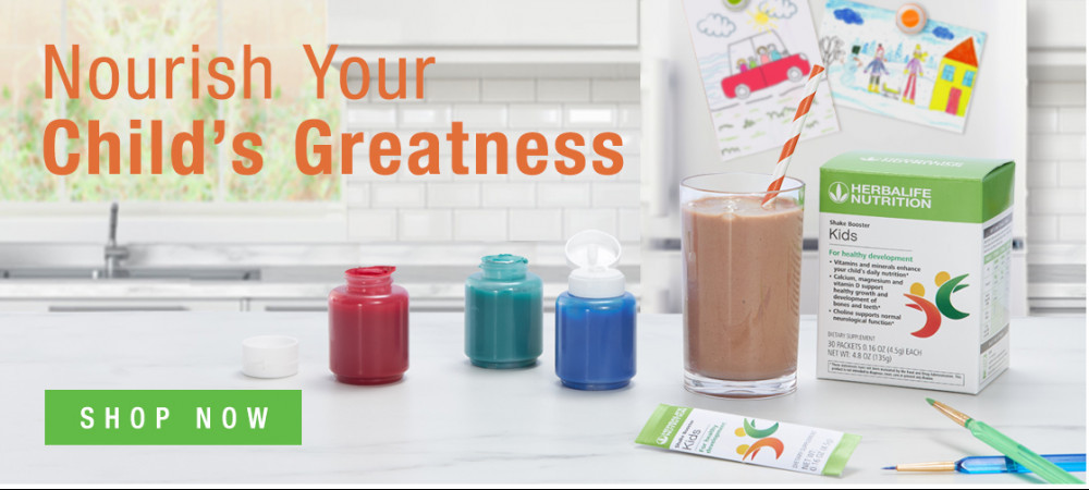 Herbalife products with words 'Nourish your child's greatness'