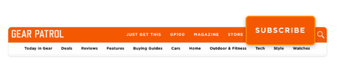 Hello Bar installed on Gear Patrol website with a subscribe link on the navigation bar