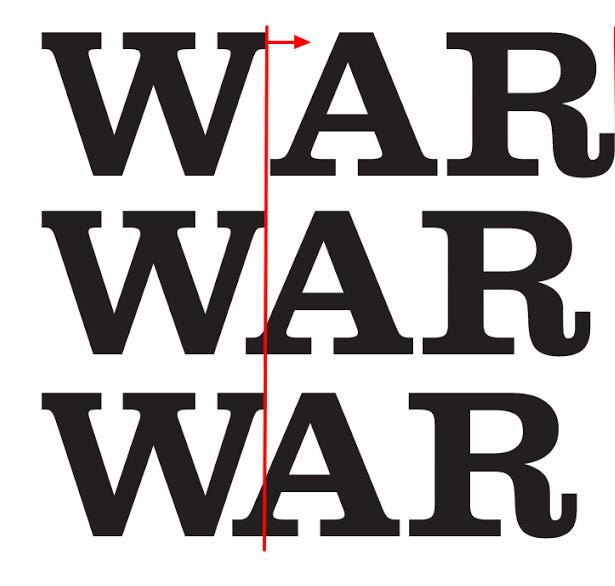 Illustrating kerning using the word WAR