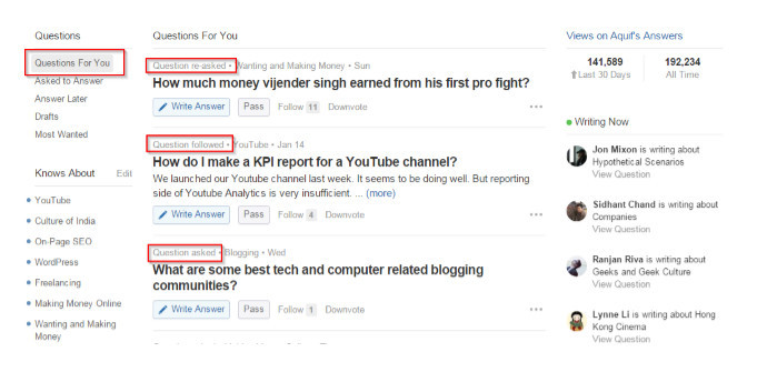 Questions re-asked, questions followed, questions asked displayed in Questons for you left of Quora user's dashboard
