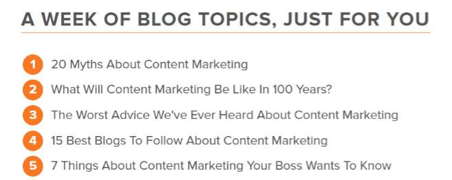 Blog topic ideas from Hubspot's blog ideas generator
