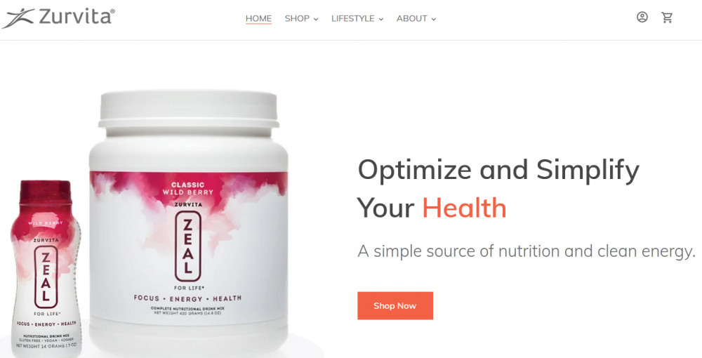 Zurvita official website homepage showing 2 bottles of product and words 'Optimize and simplify your health'