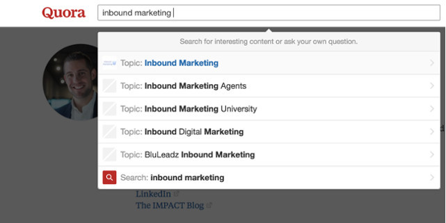 Term 'Inbound marketing' searched on Quora