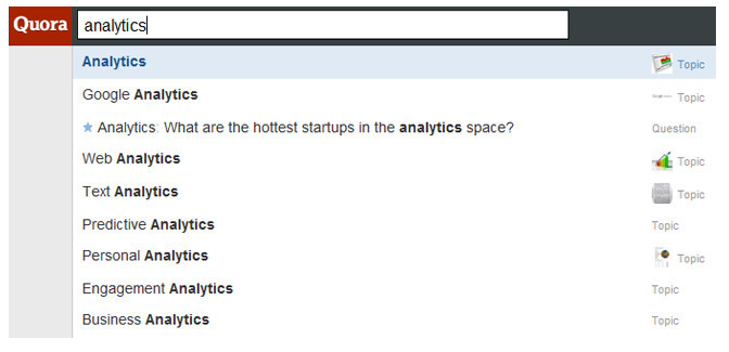 Quora doing search for analytics at the top search bar