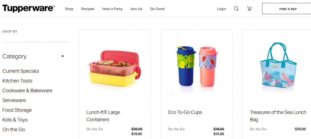 Tupperware products showing Lunch-It® Large Containers, Eco To-Go Cups, Treasures of the Sea Lunch Bag and categories such as Current Specials, Kitchen Tools, Cookware & Bakeware, Serveware, Food Storage, Kids & Toys, and On the Go.