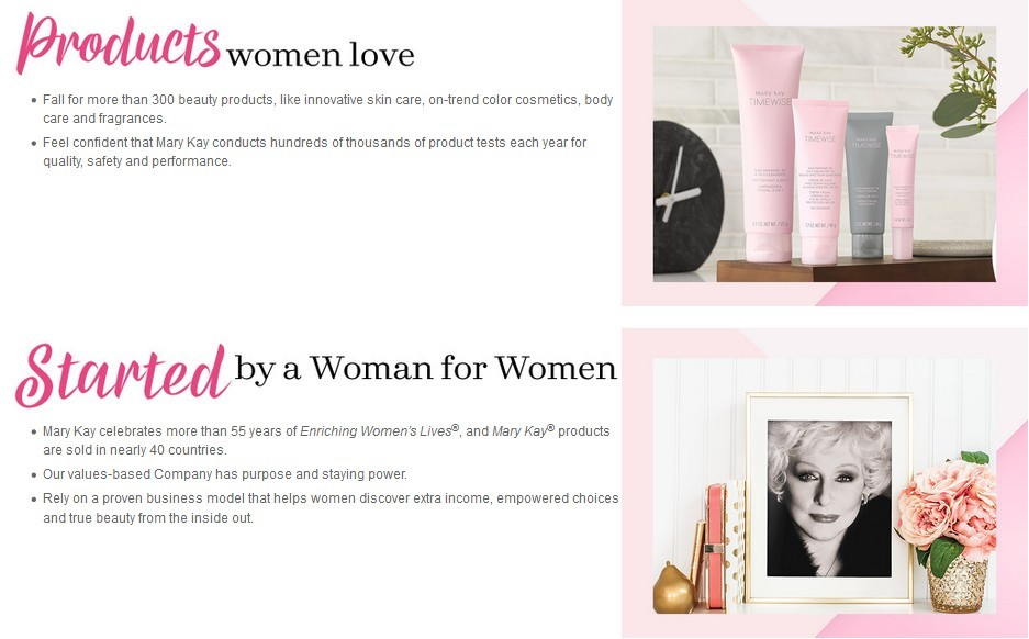 Mary Kay products women love started bu a woman for women