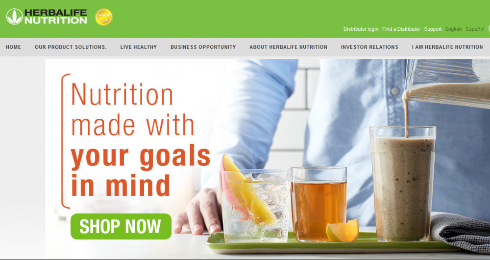 Herbalife nutrition official website homepage showing tea and smoothy in cups and words 'Nutrition made with your goals in mind'