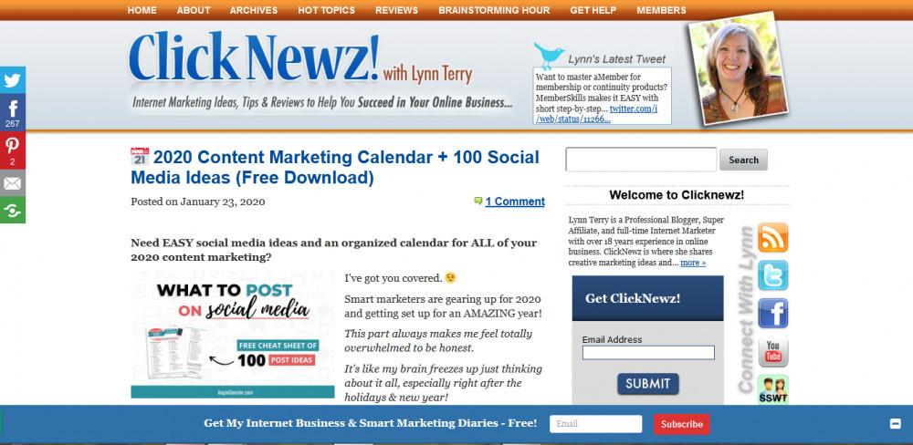 Click Newz homepage