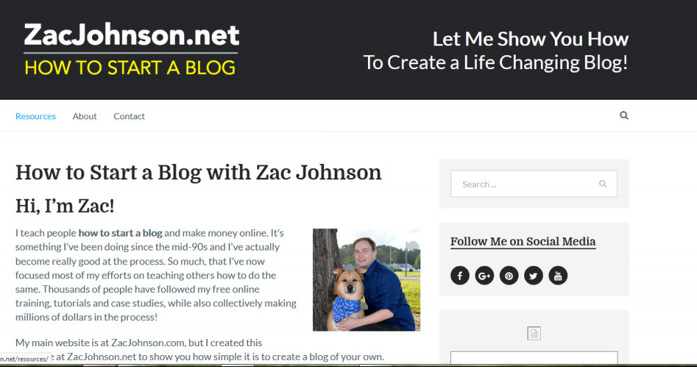Zac Johnson.net homepage