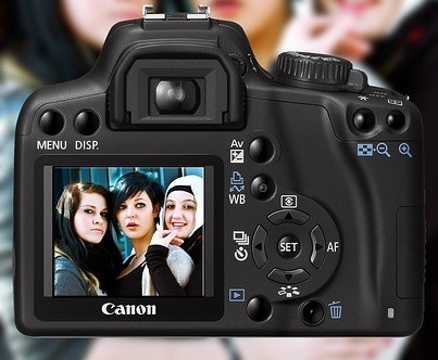 Three women on a digital camera screen to signify Sell Digital Photos Online for Money