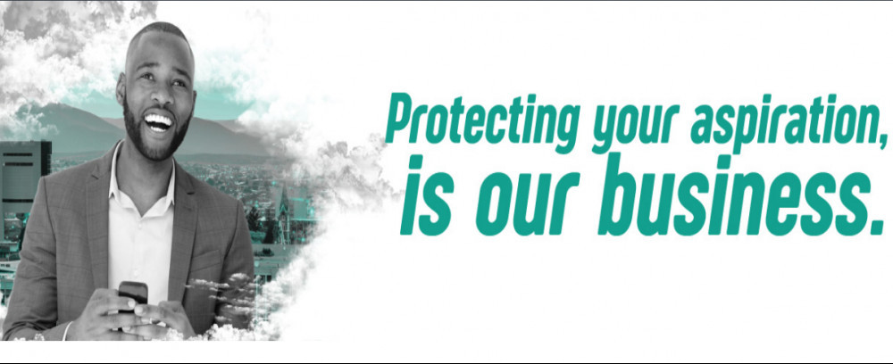 Legalshield product with a smiling man, with words 'Protecting your aspiration, isour business.'