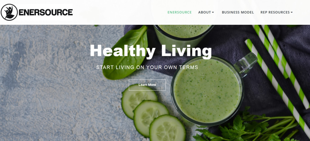 Enersource official website homepage of a smoothy, cucumber slices and some leaves