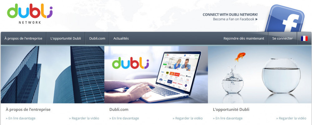 Dubli network official website homepage of skyscrapers and a hand working on a computer