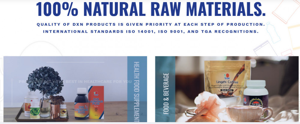 DXN products with words '100% natural raw materials'