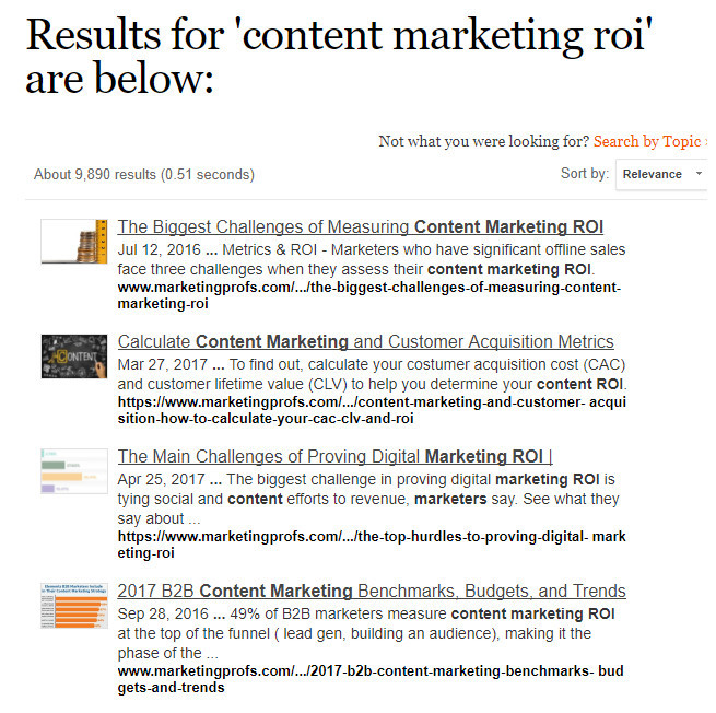 """Neil searched for """"content marketing ROI"""" and got the following result"""