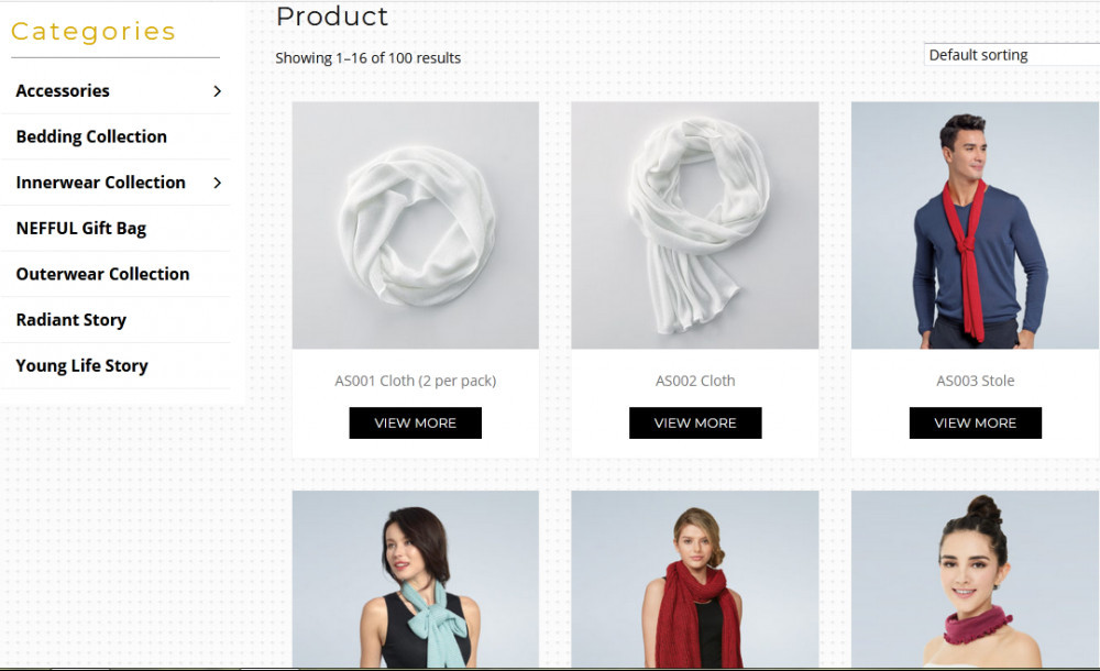Nefful products with catefories such as accessories, bedding collection, innerwear collecion, Nefful gift bag, outerwear collection, radiant story and young life story.'