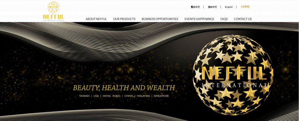 Nefful official website homepage showing cityat night in background, globe at the foreground with words Nefful International 'Beauty, Health and Wealth'