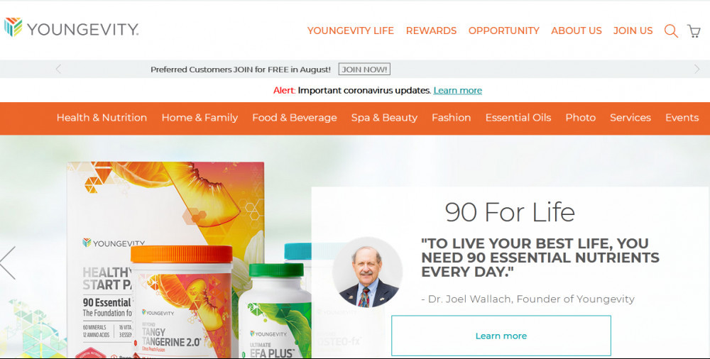 Youngevity official website homepage showing products, the founder Dr. Joel Wallach and words 90 for life 'To live your best life, you need 90 essential nutrients eery day.'