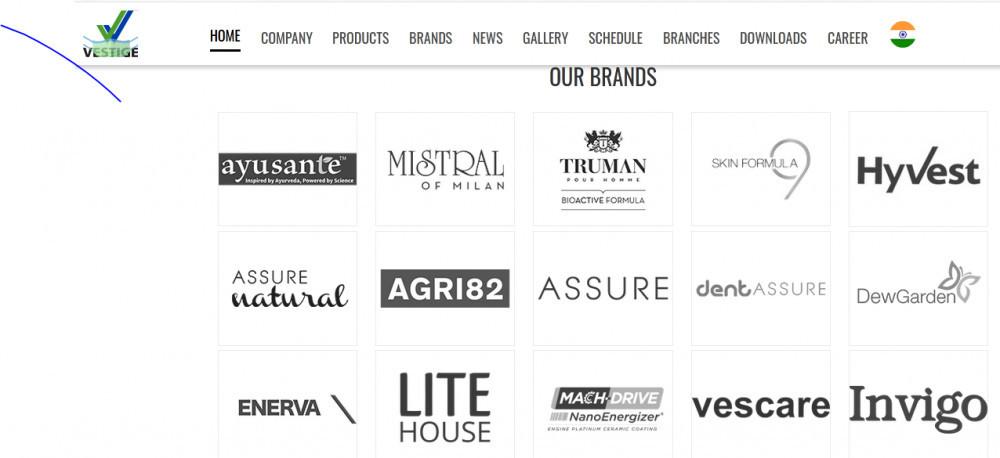 Vestige Marketing prducts with brands such as ayusante, litehouse, invigo, vescare, hyvest, etc.