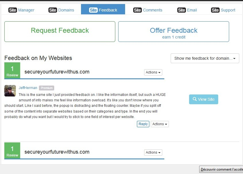 Wealthy AffiliateSiteFeedback where you get feedback on your site.