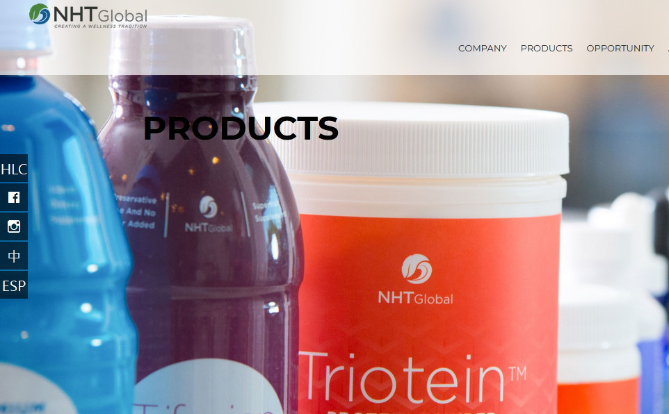 NHT Global products showing a bottle of Triotein
