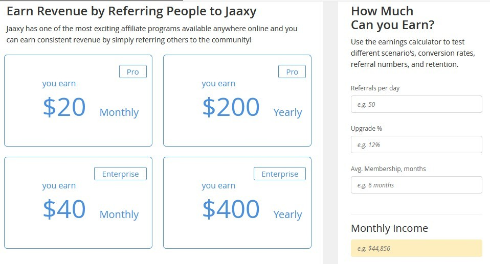 Image showing revenue jaaxy affiliates earn by referring people to the platform as part of premium services and to show how worth the wealthy services are