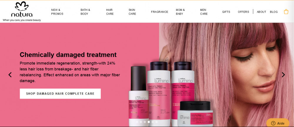 Natura official websitehomepage showing awoman beside bottles of products and words 'Chemically damaged treatment'