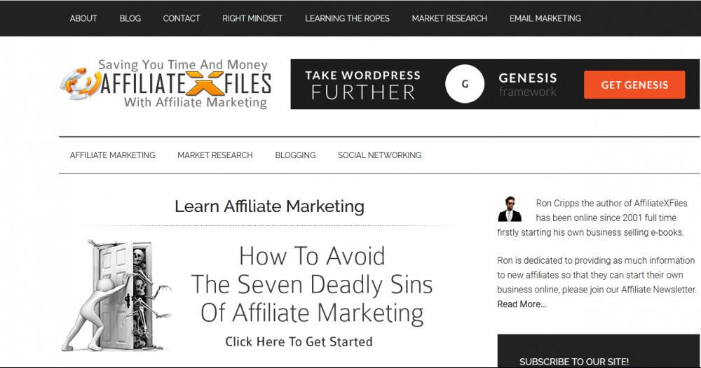 Affiliate X files homepage