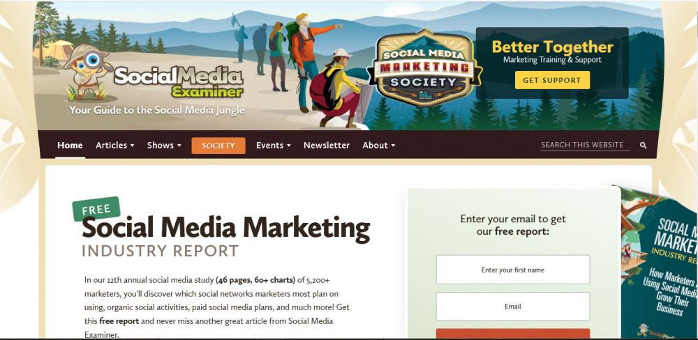 Social media examiner homepage