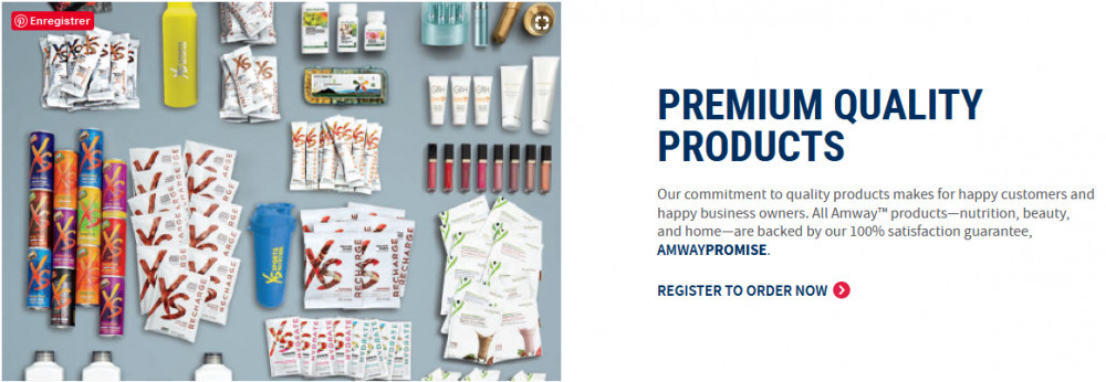 Image of amway products with the title 'Premium quality products'