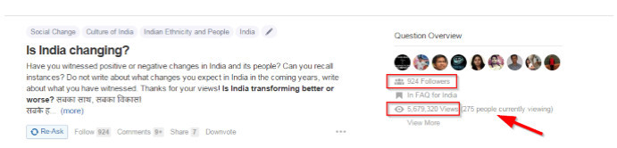 Number of views of Quora question Is Indoa Changing with 924 followers and 5.6 million views