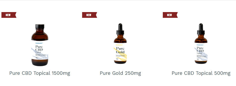 Kannaway products showing bottles of pure CBD topical 1500 mg, Pure Gold 250 mg and Pure CBD Topical 500 mg