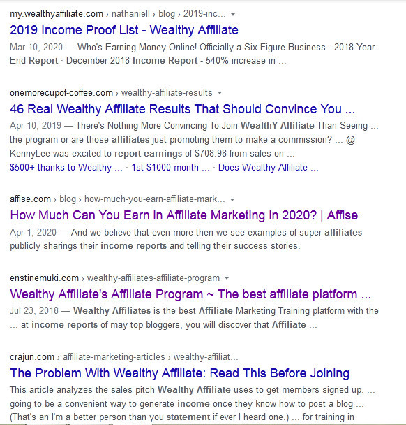 Google Search Engine Results Page of Income reports of Wealthy Affiliatereport of