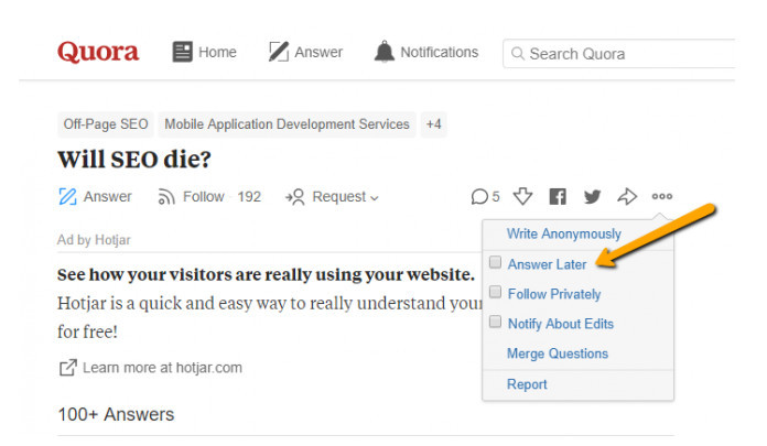 Collecting best questions asked on Quora to answer them later on